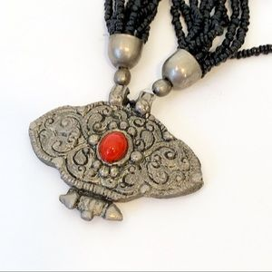Vintage Tribal Seed Beed Boho Statement Necklace